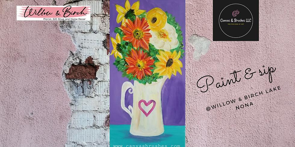Floral Jug Paint & Sip @Willow & Birch Lake Nona