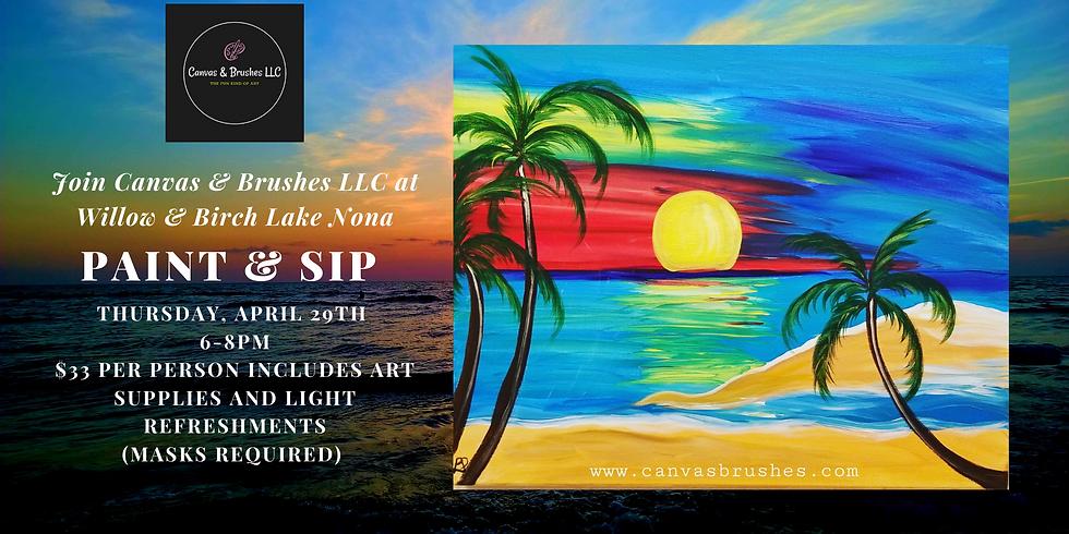 Sunset on the Beach Paint & Sip @Willow & Birch