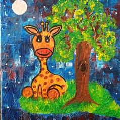 Baby Giraffe under the stars