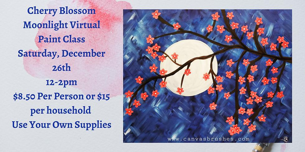 Cherry Blossom Moonlight Virtual Paint Class