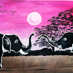 Two Elephants at Dawn