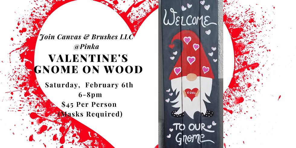 Valentine's Gnome on Wood @Pinka