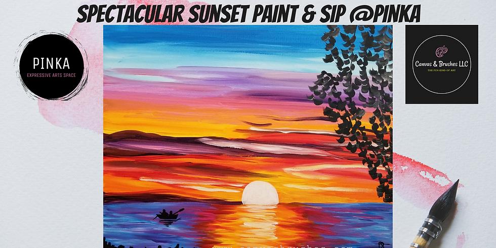 Spectacular Sunset Paint & Sip @Pinka