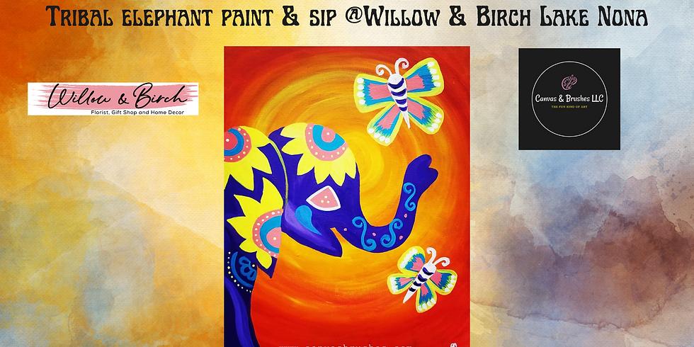 Tribal Elephant Paint & Sip @Willow & Birch Lake Nona