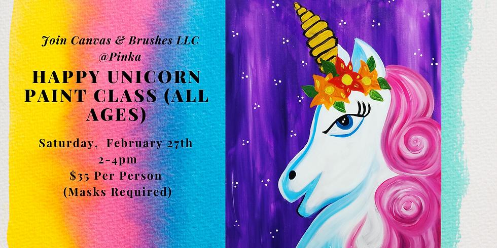 Happy Unicorn Paint Class ( All Ages) @Pinka, Apopka