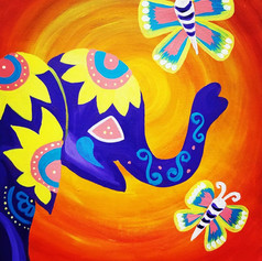 Elephant and Butterflies