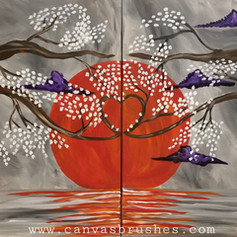 The Red Sun & Cherry Blossoms