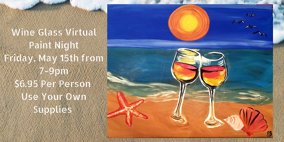 Wine Glasses on the Beach Virtual Paint Class