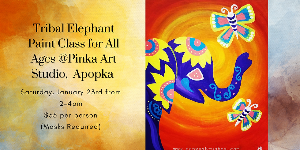 Tribal Elephant Paint Class (All Ages) @Pinka Art Studio