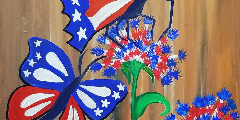 Patriotic Butterflies Virtual Paint Class