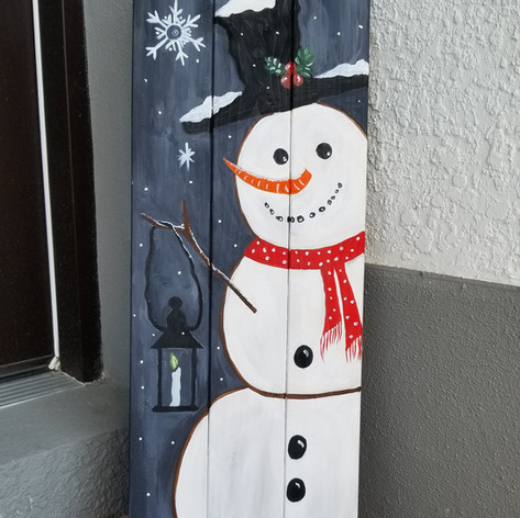 Happy Snowman on wood