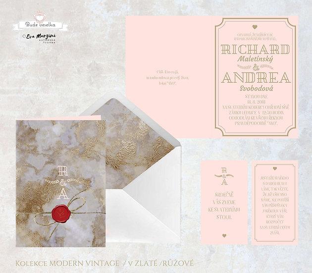 Otevírací oznámení Moderní vintage - v růžové / zlaté -  210x148 mm - tištěné