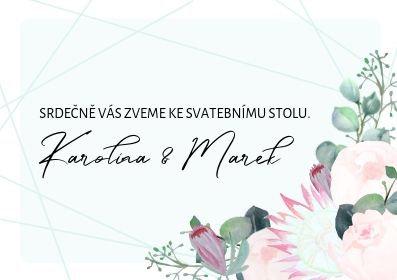Svatební pozvánky ke stolu Pivoňky Blush - mint, 74x105 tištěné