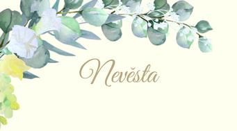 Svatební jmenovky Réva a eucalyptus, v krémové - 90x50mm/90x100mm tištěné