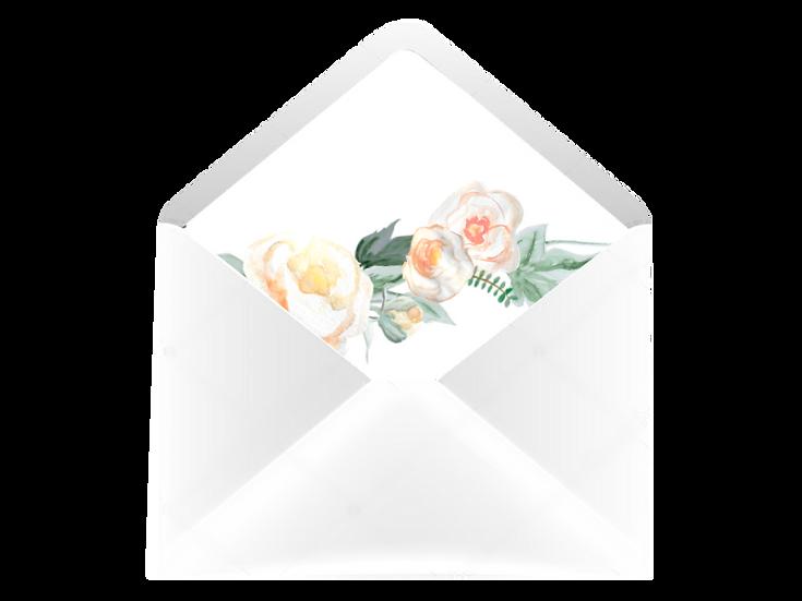 Obálka C6+ bílá - s vkladem Srdíčko z růží v bílé