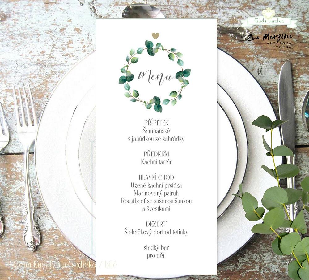 Kolekce Srdíčkový eucalyptus, menu.
