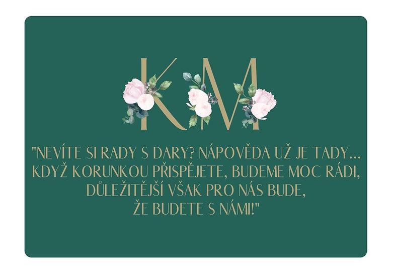 Kartičky na dary Pivoňky diamant, smaragdová 74x105 mm