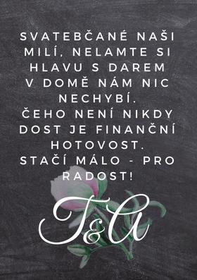 Svatební pozvánky / na dary Pivoňky No.1 - křídová tabule, 75x105 mm