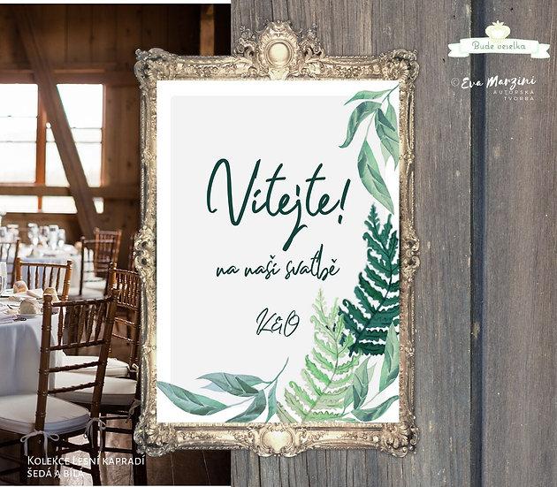 Plakát Vítejte Lesní kapradí, A3 - šedá - tištěný