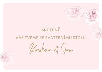 Svatební pozvánky Pivoňky ve zlaté kaligrafii, pudr rose 75x105 mm