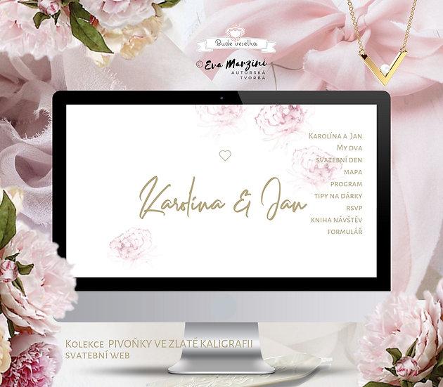 Svatební web Pivoňky ve zlaté kaligrafii, bílý v boho a nordic stylu