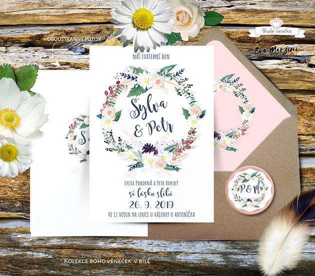Svatební oznámení Boho věneček v bílé, s polními květy, ve stylu rustik a vintage, svatba na louce