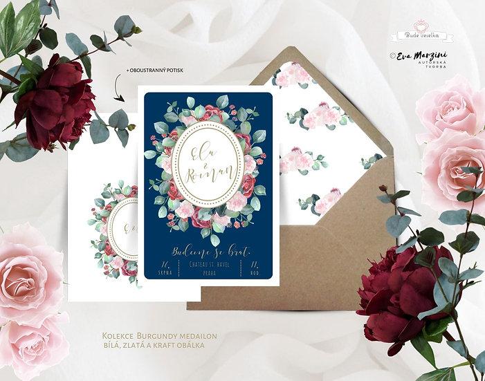 Svatební oznámení v bílé s červenými květy v modré a burgundy, ve stylu rustikálním a vintage