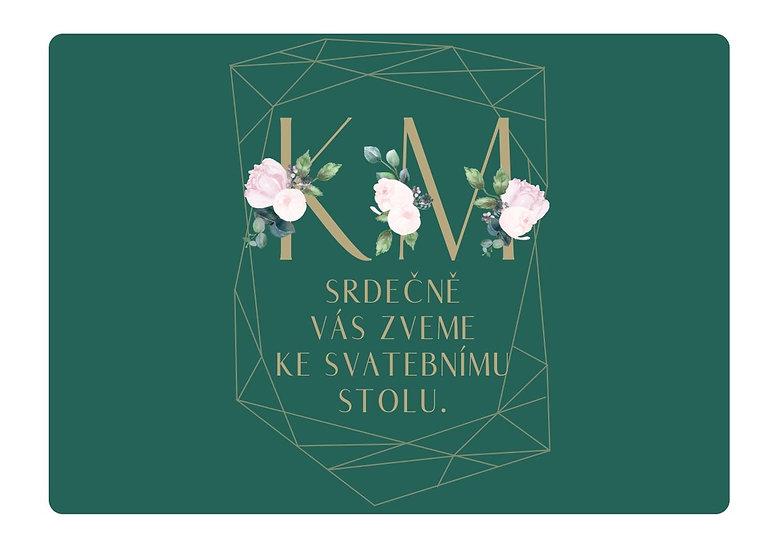 Svatební pozvánka Pivoňky diamant, smaragdová 74x105 mm
