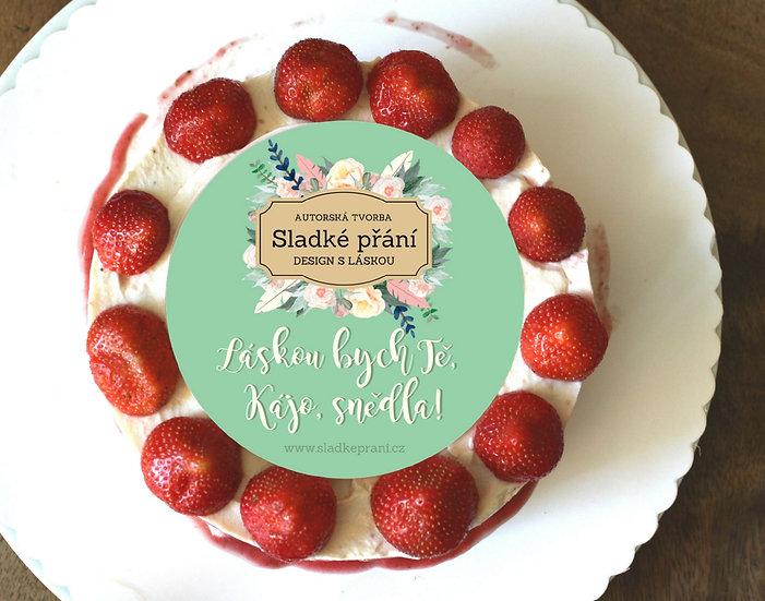Jedlé blahopřání na dort - Sladké přání No.3