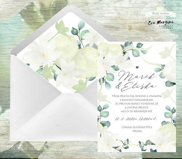 Svatební oznámení Bílá sláva, s bílými květy Clematis, béžovými pivoňkami, v bílé rustikální, vintage a boho