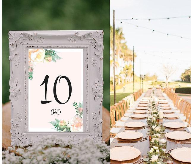 Čísla 1.-10. na stoly Srdíčko z růží, růžová - 115x165 mm - tištěné
