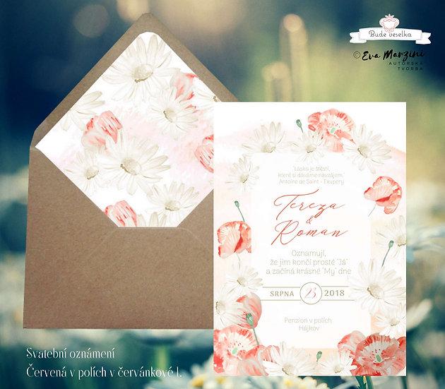 Svatební oznámení béžové a bílé s červenými máky a béžovými květy, kopretinami ve stylech boho vintage a rustic