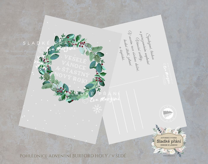 3ks Vánoční pohled Adventní Burford holy, šedé - 120x170 - tištěné