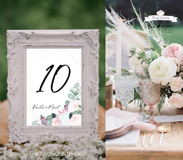 Čísla 1.-10. na stoly Pivoňky Blush, v bílé