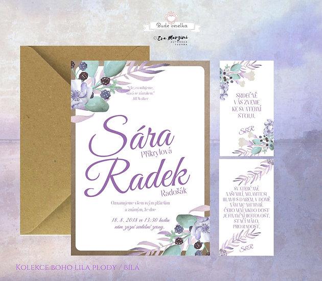 Svatební oznámení bílé kraftové s fialovými plody lesních plodů, bobulí, listy eucalyptu ve stylech boho vintage a rustikál