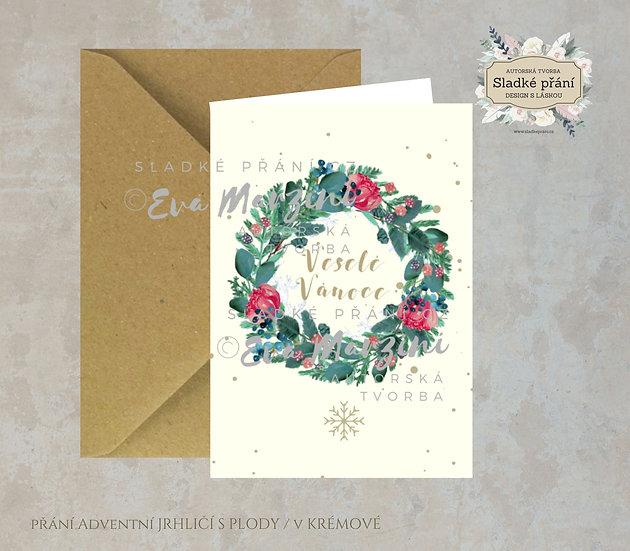 Vánoční přání Adventní Jehličí s plody, v krémové - 240x170 - tištěné