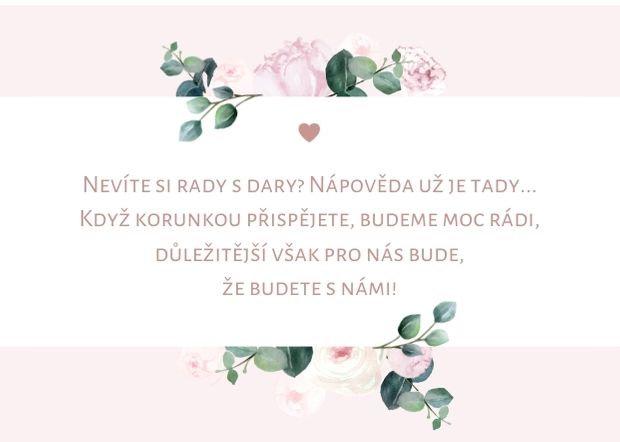 Kartička na dary Boho Pivoňky, rose 74x105 mm