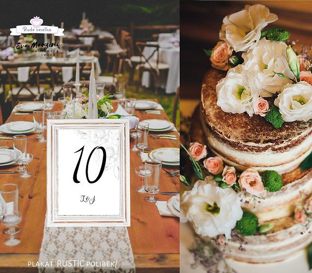 Čísla 1-10 na stoly Rustic polibek, bílá