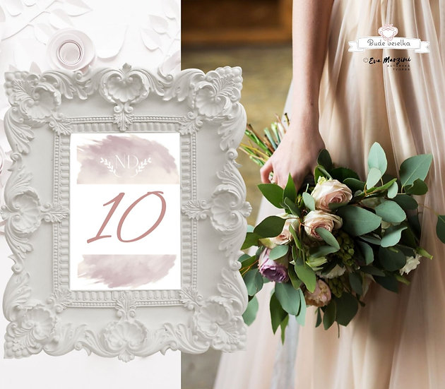 Čísla 1-10 na stoly Obláček lásky, růžová