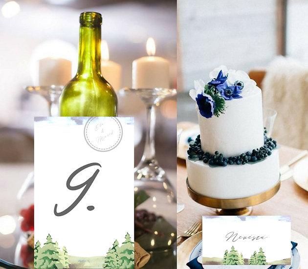 Čísla 1-10 na stoly Lesní palouk, v bílé