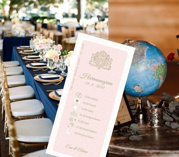 Harmonogram Svatební pas, pudr růžová 99x210 mm