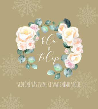 Pozvánky Meruňkové růže, ve zlaté - 90x100mm tištěné
