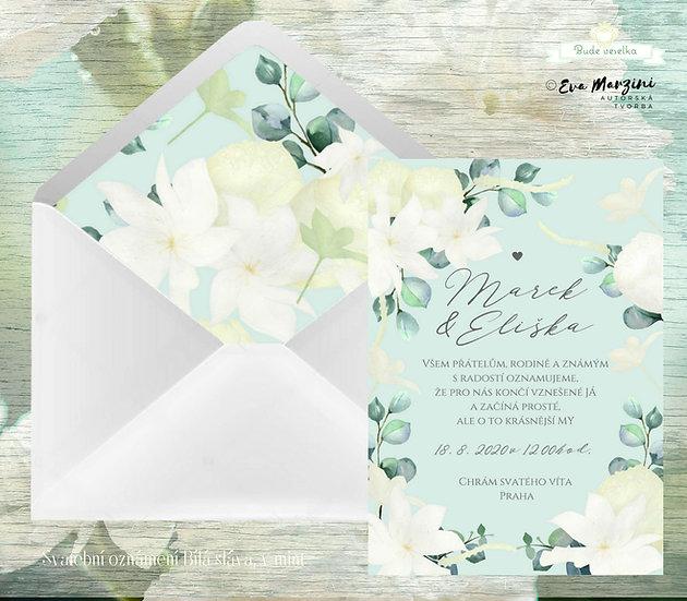 Svatební oznámení mátové s bílými květy Clematis, béžovými pivoňkami, v mátové rustik, vintage a boho