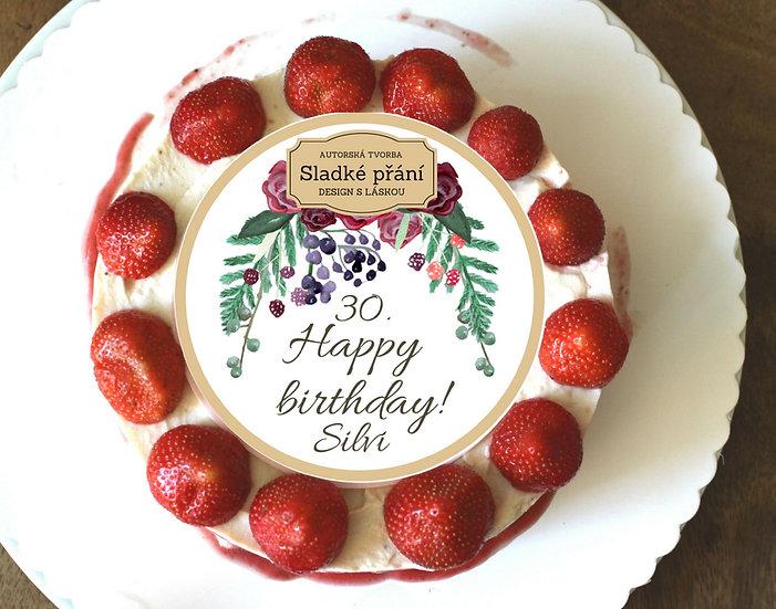 Jedlé blahopřání na dort - Burgundy plody, No.2