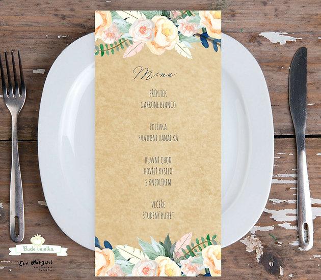 Svatební menu Boho růže No.3, 99x210 mm tištěné
