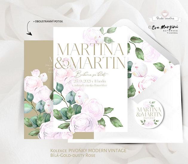 Svatební oznámení s dusty růžovými pivoňkami a zelenými lístky ve stylu boho glamour
