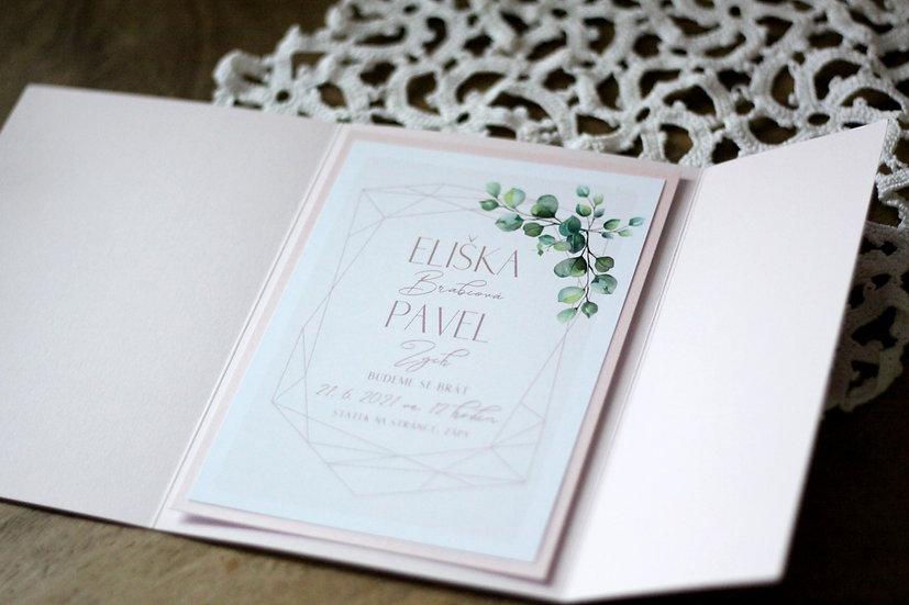 Klopa na svatební oznámení, pudrová 135x185 mm
