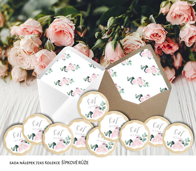 Kulaté nálepky Šípkové růže, v bílé, 72 ks /45 mm