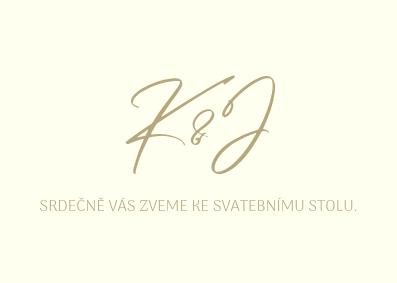 Pozvánky Zlatá kaligrafie, ivory, 75x105 mm