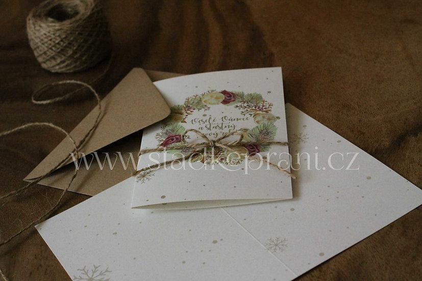 Vánoční přání Adventní Burgundy, v bílé - 240x170 - tištěné